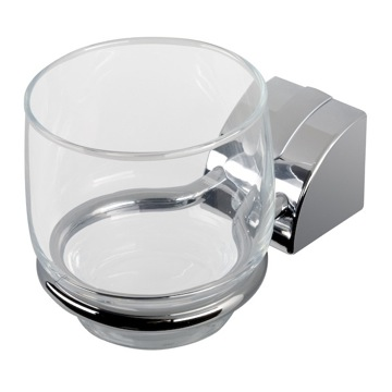 Toothbrush Holder Wall Mounted Chrome Tumbler Holder With Clear Glass Tumbler 8002-02 Geesa 8002-02