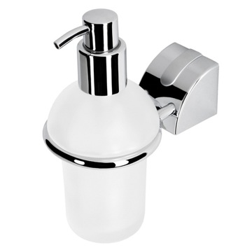 Soap Dispenser Wall Mounted Frosted Glass Soap Dispenser with Chromed Mounting 8016-02 Geesa 8016-02