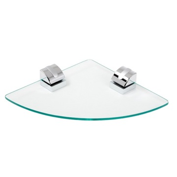 Bathroom Shelf Clear Glass Corner Bathroom Shelf With Chrome Mounting 8021-02 Geesa 8021-02
