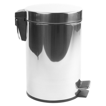 Round Chrome Bathroom Waste Bin With Pedal