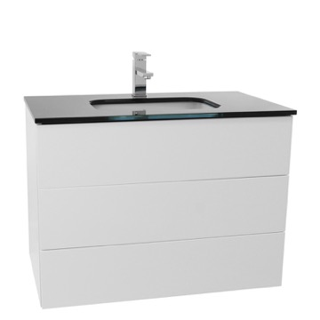 32 Inch Glossy White Bathroom Vanity with Black Glass Top, Wall Mounted