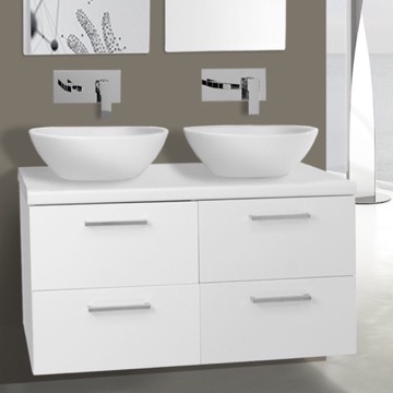 37 inch glossy white double vessel sink bathroom vanity wall mounted