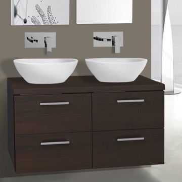 37 Inch Wenge Double Vessel Sink Bathroom Vanity, Wall Mounted