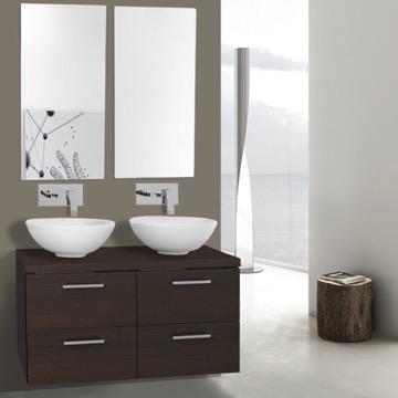 37 Inch Wenge Double Vessel Sink Bathroom Vanity, Wall Mounted, Mirrors Included