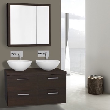 37 Inch Wenge Double Vessel Sink Bathroom Vanity, Wall Mounted, Medicine Cabinet Included