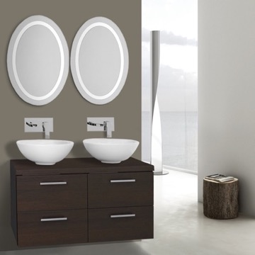 37 Inch Wenge Bathroom Vanity, Wall Mounted, Lighted Mirror Included