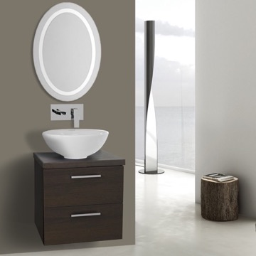19 Inch Wenge Bathroom Vanity, Wall Mounted, Lighted Mirror Included