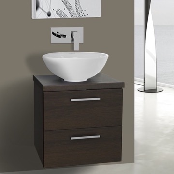 19 Inch Wenge Small Vessel Sink Bathroom Vanity, Wall Mounted