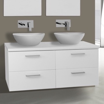 45 inch glossy white double vessel sink bathroom vanity wall mounted