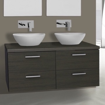 45 Inch Grey Oak Double Vessel Sink Bathroom Vanity, Wall Mounted