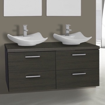 45 Inch Grey Oak Double Vessel Sink Bathroom Vanity, Wall Mounted