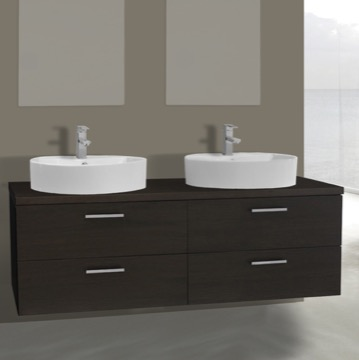 61 Inch Wenge Double Vessel Sink Bathroom Vanity, Wall Mounted