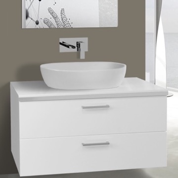 38 Inch Glossy White Vessel Sink Bathroom Vanity, Wall Mounted