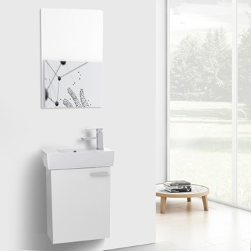 19 Inch Glossy White Wall Mount Bathroom Vanity with Fitted Ceramic Sink, Mirror Included