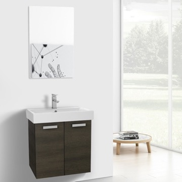 24 Inch Grey Oak Wall Mount Bathroom Vanity with Fitted Ceramic Sink, Mirror Included