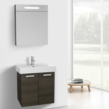 24 Inch Grey Oak Wall Mount Bathroom Vanity with Fitted Ceramic Sink, Lighted Medicine Cabinet Included
