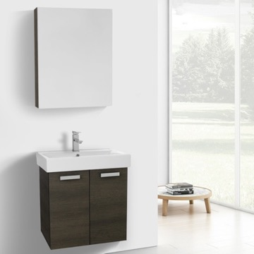 24 Inch Grey Oak Wall Mount Bathroom Vanity with Fitted Ceramic Sink, Medicine Cabinet Included