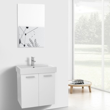 24 Inch Glossy White Wall Mount Bathroom Vanity with Fitted Ceramic Sink, Mirror Included