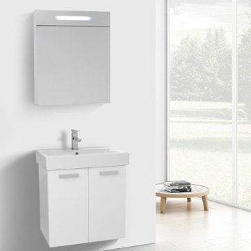 24 Inch Glossy White Wall Mount Bathroom Vanity with Fitted Ceramic Sink, Lighted Medicine Cabinet Included