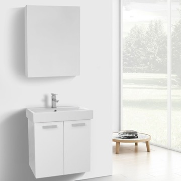 24 Inch Glossy White Wall Mount Bathroom Vanity with Fitted Ceramic Sink, Medicine Cabinet Included