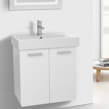 24 Inch Glossy White Wall Mount Bathroom Vanity with Fitted Ceramic Sink