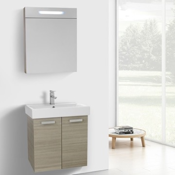 24 Inch Larch Canapa Wall Mount Bathroom Vanity with Fitted Ceramic Sink, Lighted Medicine Cabinet Included