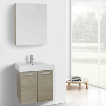 24 Inch Larch Canapa Wall Mount Bathroom Vanity with Fitted Ceramic Sink, Medicine Cabinet Included
