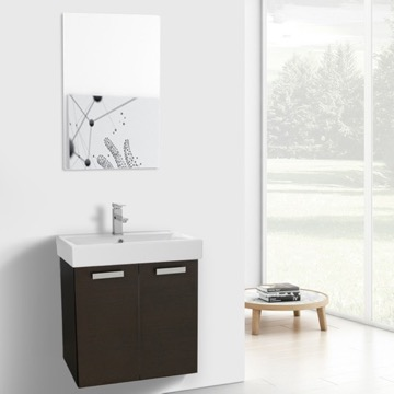 24 Inch Wenge Wall Mount Bathroom Vanity with Fitted Ceramic Sink, Mirror Included