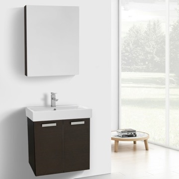 24 Inch Wenge Wall Mount Bathroom Vanity with Fitted Ceramic Sink, Medicine Cabinet Included