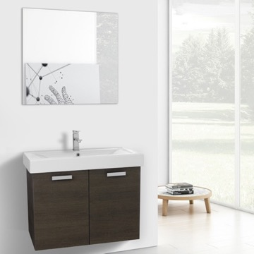 32 Inch Grey Oak Wall Mount Bathroom Vanity with Fitted Ceramic Sink, Mirror Included