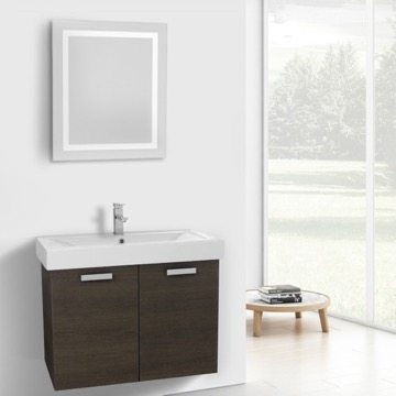 32 Inch Grey Oak Wall Mount Bathroom Vanity with Fitted Ceramic Sink, Lighted Mirror Included