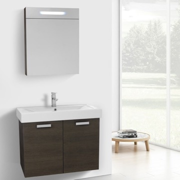 32 Inch Grey Oak Wall Mount Bathroom Vanity with Fitted Ceramic Sink, Lighted Medicine Cabinet Included