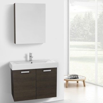 32 Inch Grey Oak Wall Mount Bathroom Vanity with Fitted Ceramic Sink, Medicine Cabinet Included