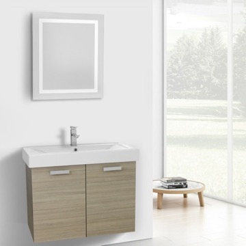 32 Inch Larch Canapa Wall Mount Bathroom Vanity with Fitted Ceramic Sink, Lighted Mirror Included