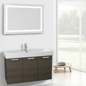 39 Inch Grey Oak Wall Mount Bathroom Vanity with Fitted Ceramic Sink, Lighted Mirror Included