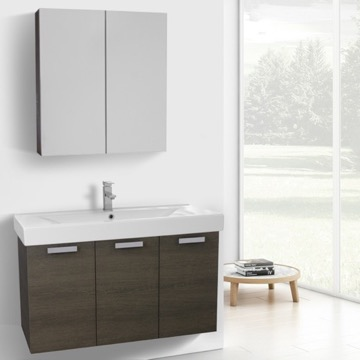 39 Inch Grey Oak Wall Mount Bathroom Vanity with Fitted Ceramic Sink, Medicine Cabinet Included