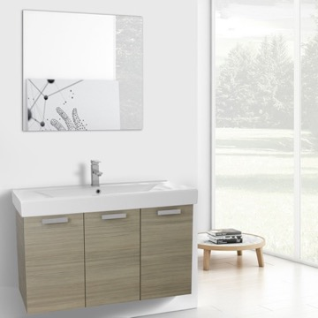 39 Inch Larch Canapa Wall Mount Bathroom Vanity with Fitted Ceramic Sink, Mirror Included