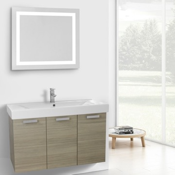 39 Inch Larch Canapa Wall Mount Bathroom Vanity with Fitted Ceramic Sink, Lighted Mirror Included