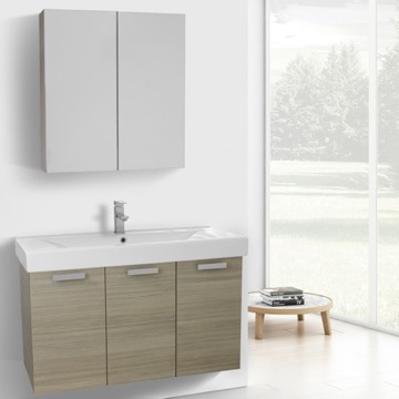 39 Inch Larch Canapa Wall Mount Bathroom Vanity with Fitted Ceramic Sink, Medicine Cabinet Included