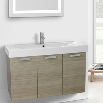 39 Inch Larch Canapa Wall Mount Bathroom Vanity with Fitted Ceramic Sink
