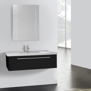40 Inch Glossy Black Wall Bathroom Vanity Set, 1 Drawer, Lighted Mirror Included