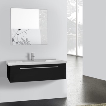 40 Inch Glossy Black Wall Bathroom Vanity Set, 1 Drawer, Mirror Included