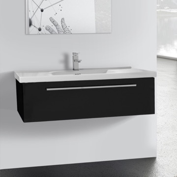 40 Inch Glossy Black Wall Bathroom Vanity Set, 1 Drawer