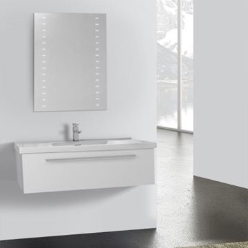 40 Inch Glossy White Wall Bathroom Vanity Set, 1 Drawer, Lighted Mirror Included