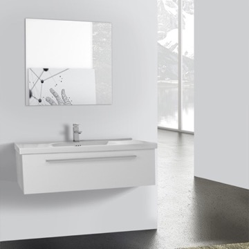 40 Inch Glossy White Wall Bathroom Vanity Set, 1 Drawer, Mirror Included