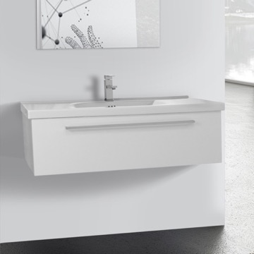 40 Inch Glossy White Wall Bathroom Vanity Set, 1 Drawer