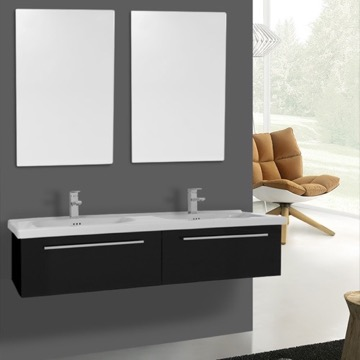 56 Inch Glossy Black Wall Double Bathroom Vanity Set, 2 Drawers, Mirror Included