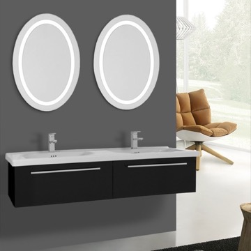 56 Inch Glossy Black Bathroom Vanity, Wall Mounted, Lighted Mirror Included