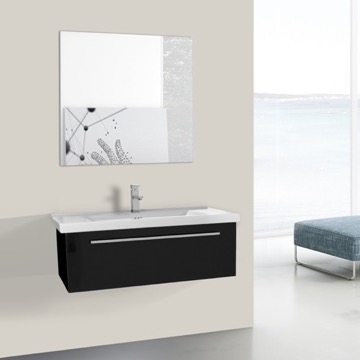 36 Inch Glossy Black Wall Bathroom Vanity Set, 1 Drawer, Mirror Included
