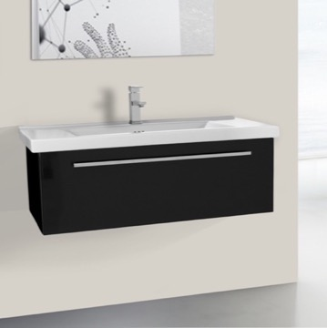 36 Inch Glossy Black Wall Bathroom Vanity Set, 1 Drawer